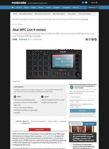 MusicRadar.com Akai MPC Live II