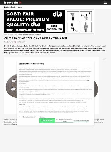 Bonedo.de Zultan Dark Matter Holey Crash Cymbals