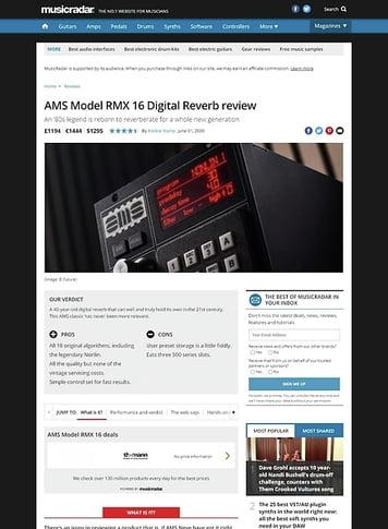 MusicRadar.com AMS Model RMX 16 Digital Reverb