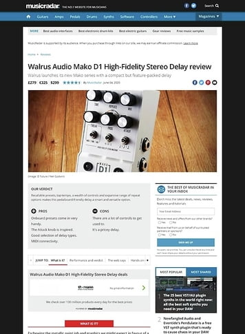 MusicRadar.com Walrus Audio Mako D1 High-Fidelity Stereo Delay