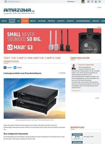 Amazona.de Test: the t.amp E-1500 und the t.amp E-1200 Endstufen