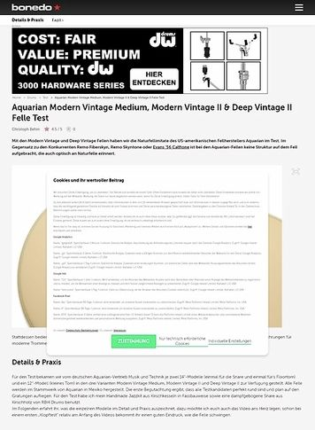 Bonedo.de Aquarian Modern Vintage Medium, Modern Vintage II & Deep Vintage II