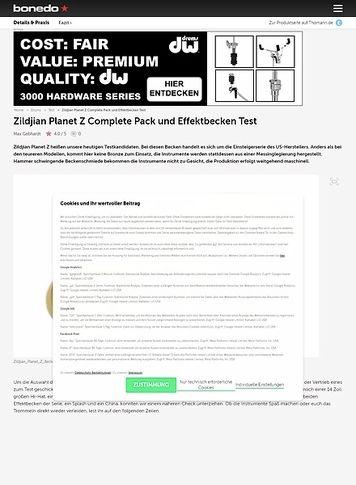 Bonedo.de Zildjian Planet Z Complete Pack und Effektbecken