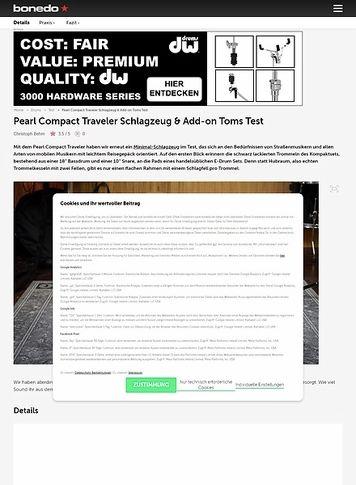Bonedo.de Pearl Compact Traveler Schlagzeug & Add-on Toms