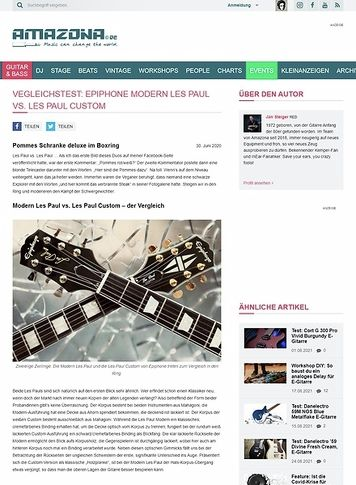 Amazona.de Vegleichstest: Epiphone Modern Les Paul vs. Les Paul Custom