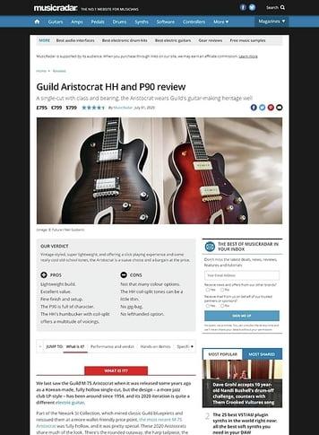 MusicRadar.com Guild Aristocrat HH and P90