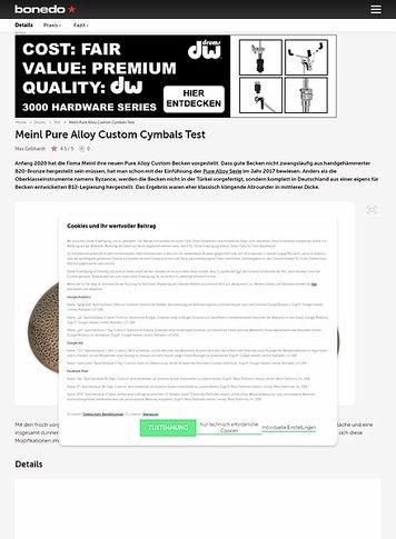 Bonedo.de Meinl Pure Alloy Custom Cymbals