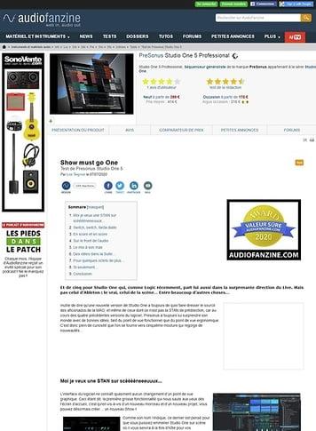 Audiofanzine.com PreSonus Studio One 5 Professional