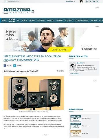 Amazona.de Vergleichstest: HEDD Type 20, Focal Trio6, Adam S3V, Studiomonitore
