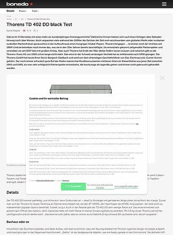 Bonedo.de Thorens TD 402 DD