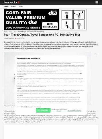 Bonedo.de Pearl Travel Congas, Travel Bongos und PC-800 Stative