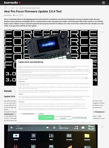 Bonedo.de Akai Pro Force Firmware Update 3.0.4