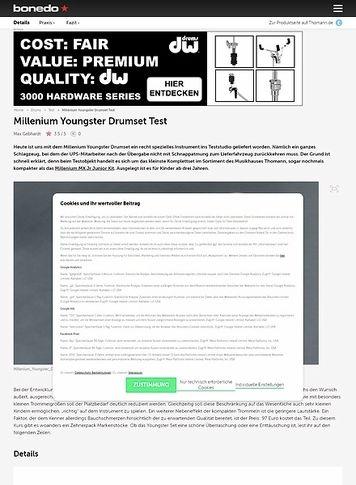 Bonedo.de Millenium Youngster Drumset