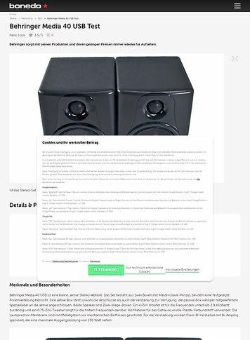Bonedo.de Behringer Media 40USB