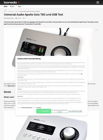 Bonedo.de Universal Audio Apollo Solo TB3 und USB