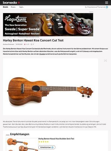 Bonedo.de Harley Benton Hawaii Koa Concert Cut