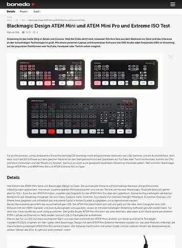 Bonedo.de Blackmagic Design ATEM Mini und ATEM Mini Pro
