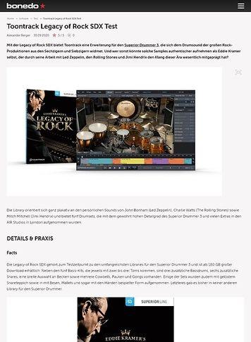 Bonedo.de Toontrack Legacy of Rock SDX