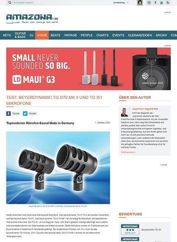 Amazona.de Test: beyerdynamic TG D70 MK II und TG I51 Mikrofone