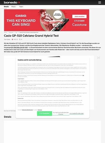 Bonedo.de Casio GP-510 BP Celviano