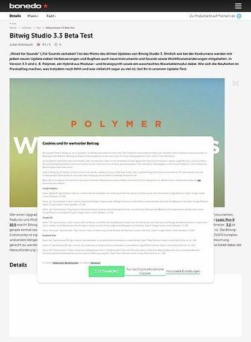 Bonedo.de Bitwig Studio 3.3 Beta
