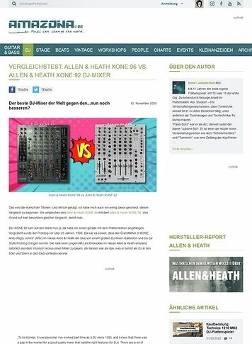Amazona.de Vergleichstest: Allen & Heath XONE:96 vs. Allen & Heath XONE:92