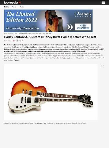Bonedo.de Harley Benton SC-Custom II Honey Burst Flame & Active White