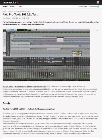 Bonedo.de Avid Pro Tools 2020.11