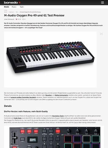 Bonedo.de M-Audio Oxygen Pro 49 und 61