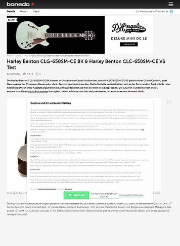 Bonedo.de Harley Benton CLG-650SM-CE BK & Harley Benton CLC-650SM-CE VS