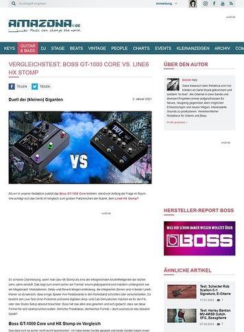 Amazona.de Vergleichstest: Boss GT-1000 Core vs. Line6 HX Stomp