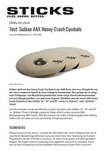 Sticks Sabian AAX Heavy Crash Cymbals