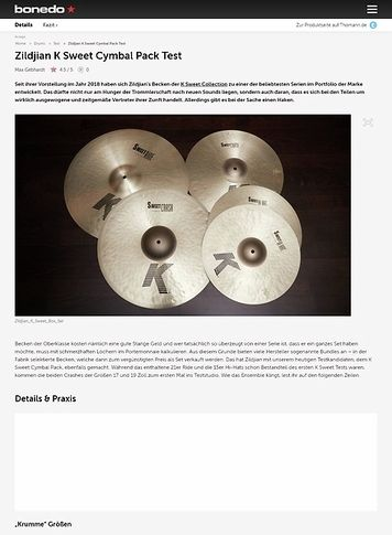 Bonedo.de Zildjian K Sweet Cymbal Pack