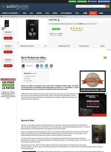 Audiofanzine.com ADAM T8V