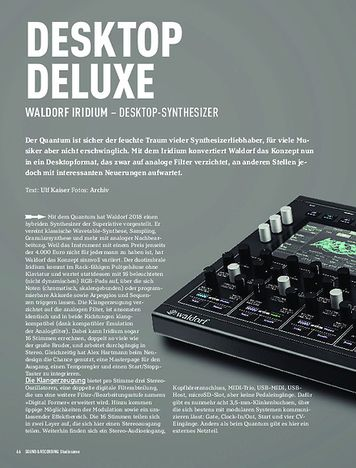 Sound & Recording Waldorf Iridium