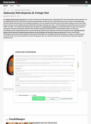 Bonedo.de Sadowsky MetroExpress 21 Vintage