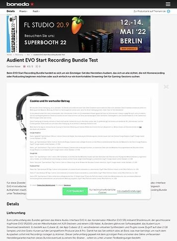 Bonedo.de Audient EVO Start Recording Bundle