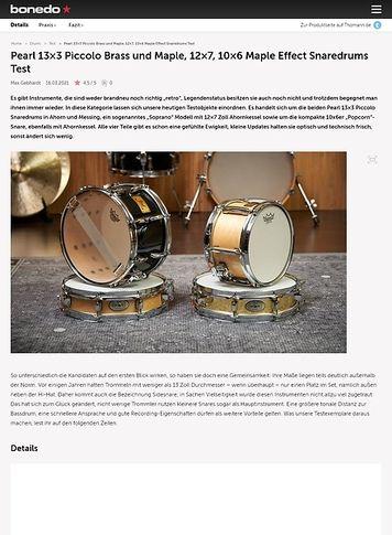 Bonedo.de Pearl 13x3 Piccolo Brass und Maple, 12x7, 10x6 Maple Effect Snaredrums