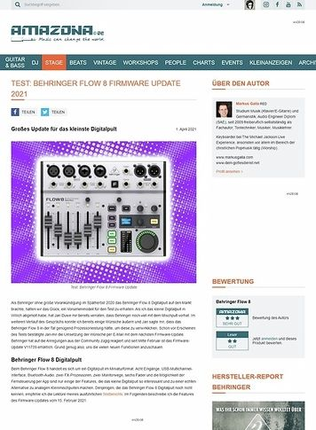 Amazona.de Behringer Flow 8 Firmware Update 2021