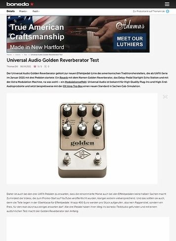 Bonedo.de Universal Audio Golden Reverberator