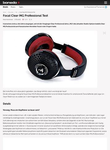Bonedo.de Focal Clear MG Professional