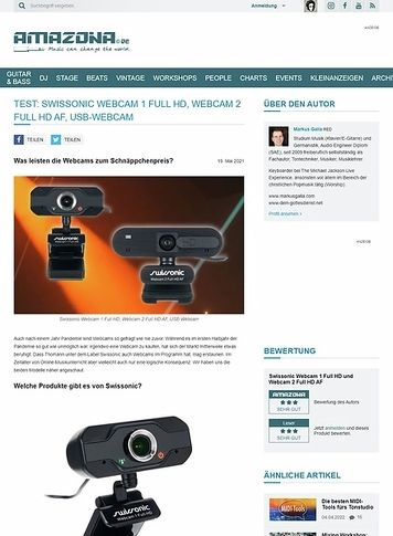Amazona.de Swissonic Webcam 1 Full HD, Webcam 2 Full HD AF
