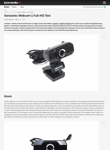 Bonedo.de Swissonic Webcam 1 Full-HD
