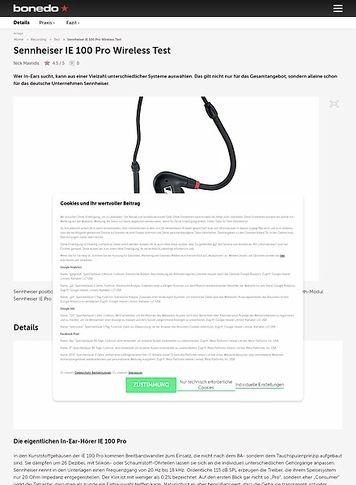 Bonedo.de Sennheiser IE 100 Pro Wireless