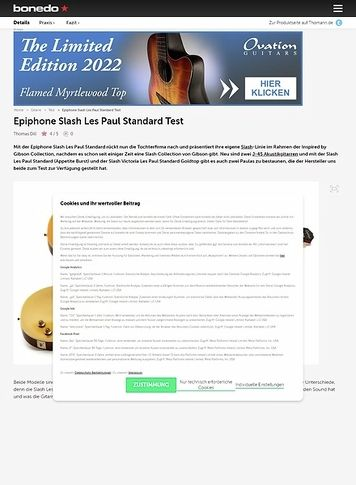 Bonedo.de Epiphone Slash Les Paul Standard