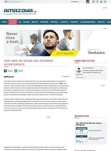 Amazona.de Test: MXR, MC-401/MC-402, Gitarren Effektgeräte