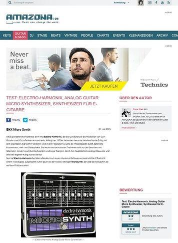 Amazona.de Test: Electro-Harmonix, Analog Guitar Micro Synthesizer, Synthesizer für E-Gitarre