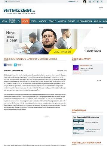 Amazona.de Test: Earsonics EARPAD Gehörschutz
