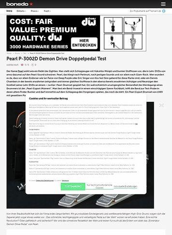 Bonedo.de Pearl P-3002D Demon Drive Doppelpedal