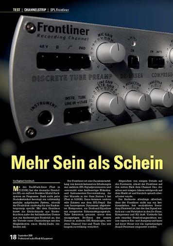 Professional Audio Mehr Sein als Schein: SPL Frontliner